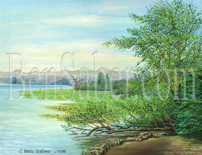 Picture,painting,Floating bridge lake Washington