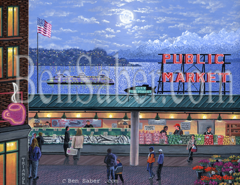 Pike Place market at night Seattle  Original acrylic painting Picture