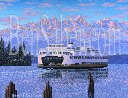 Washington State Ferry olympic mountains  Seattle Waterfront Painting Picture