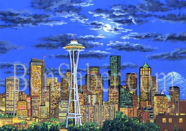 Downtown Seattle at night  Original acrylique painting Picture