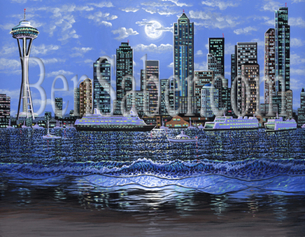 Downtown Seattle from Alki Beach Picture Painting