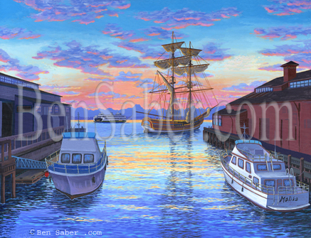 Port of Seattle Waterfront  Lady Washington Painting Picture