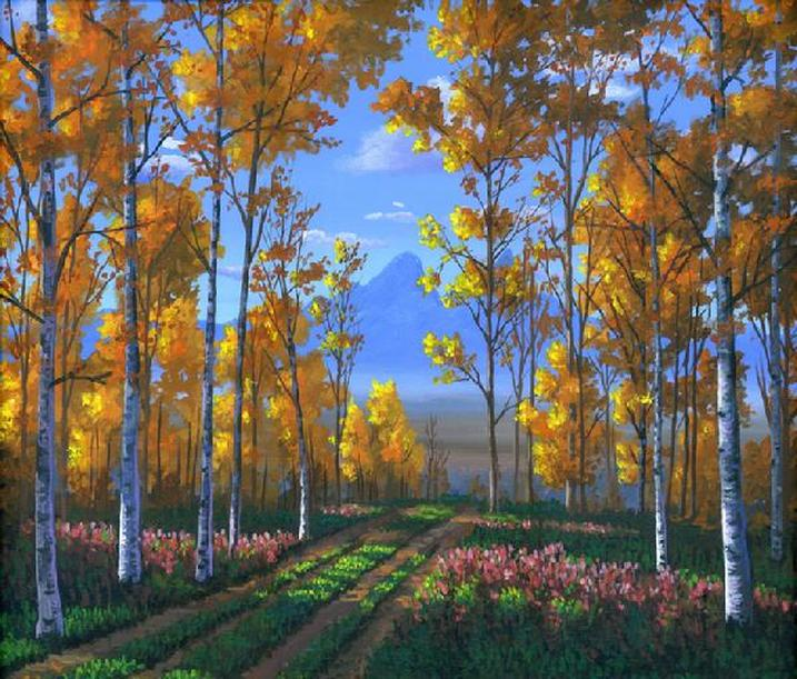 Aspen forest in autumn painting Picture