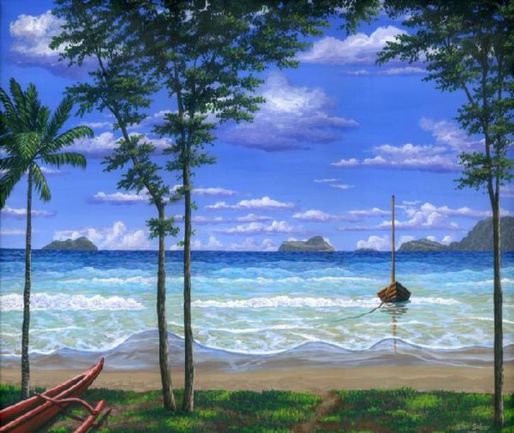 Tropical beach in the morning painting Picture