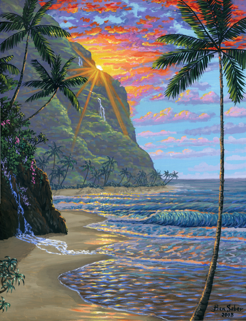 Hawaiian beach at sunset painting Picture