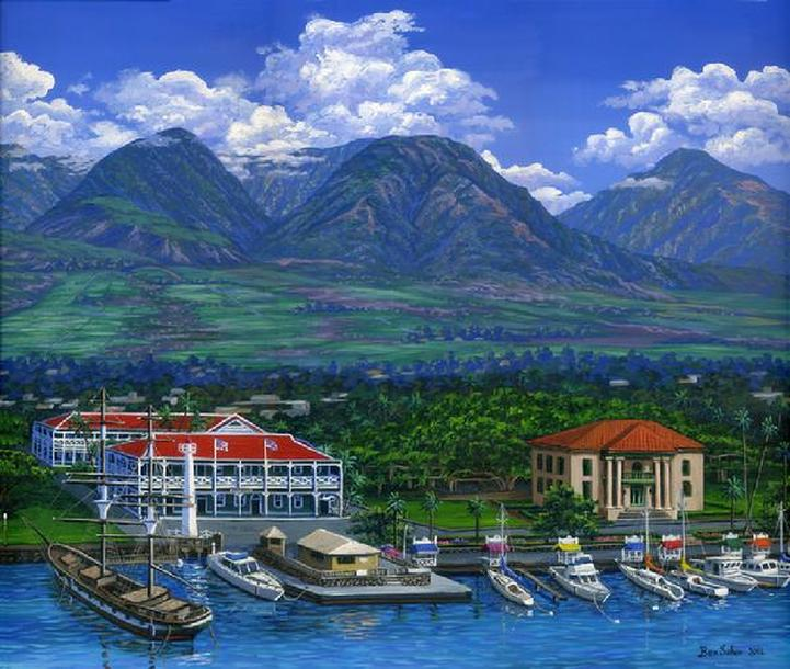 Lahaina town port and West Maui mountains painting Picture