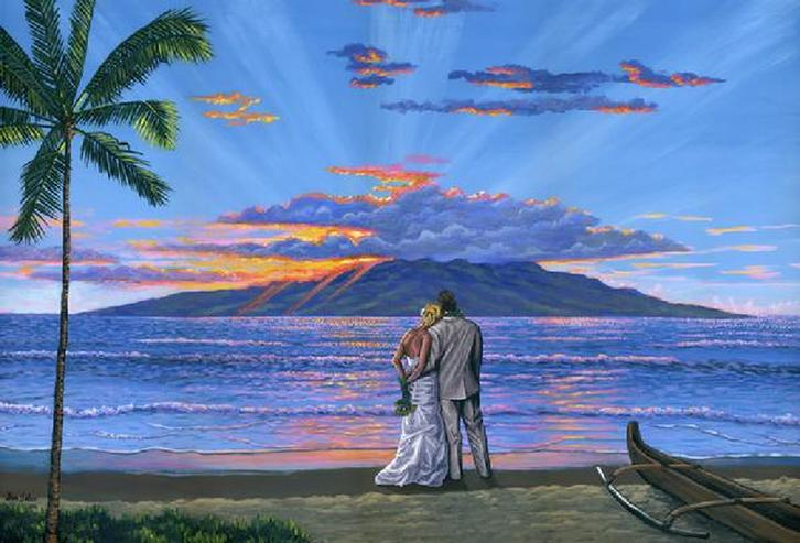 Wedding portrait in Maui and Lanai Island painting Picture