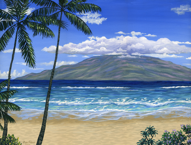 Lahaina beach Maui and Lanai  painting Picture