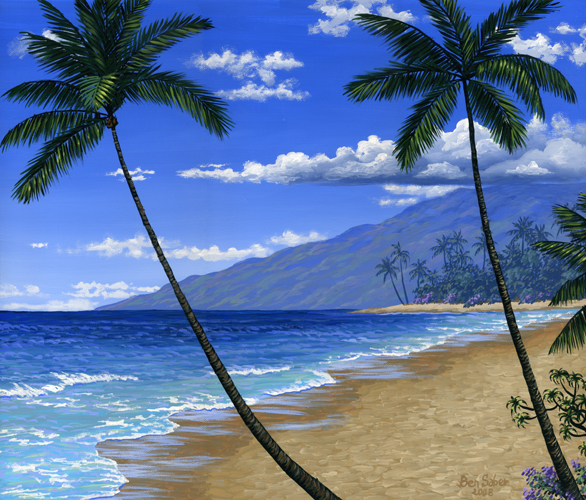 625 Baby Beach In Maui Original Acrylic Painting On Canvas 20x24 Inches 51x60 Cm