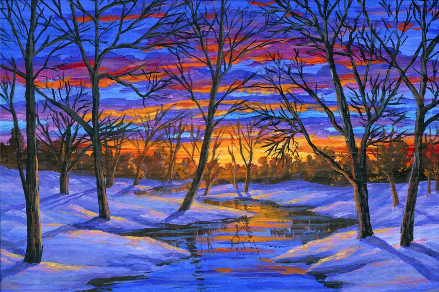 Painting Lesson 88 How To Paint A Winter Landscape Using Acrylics On Canvas By Ben Saber This Is An Easy Step Process From Start