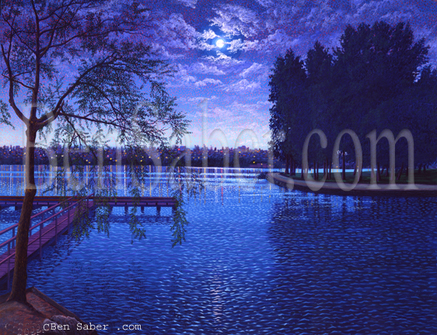 Greenlake in Seattle illuminated by the moon picture