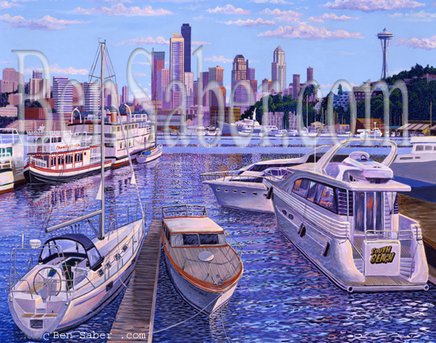 Vue of Lake Union downtown Seattle  Boats Painting Picture