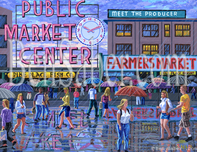 Pike Place market in Seattle Rain Umbrella Original acrylic painting Picture