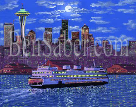 Ferry of Downtown Seattle at night Painting Picture