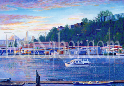 Fremont lake Union Downtown Seattle Painting Picture