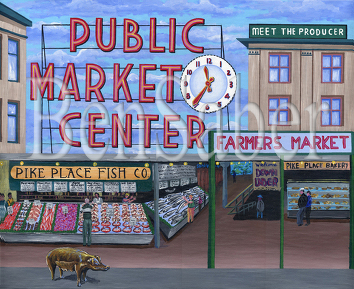 Piggy bank at Pike Place market Seattle Original acrylic painting Picture