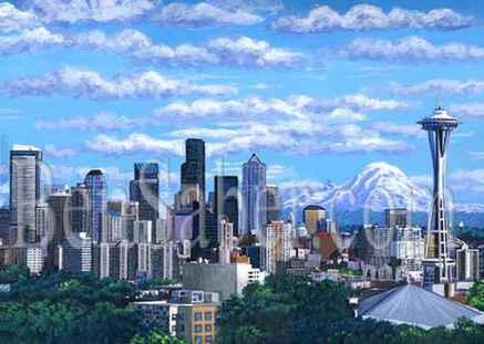 Downtown Seattle in the morning light Painting Picture