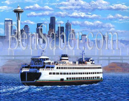 Ferry Downtown Seattle in the morning fog Painting Picture