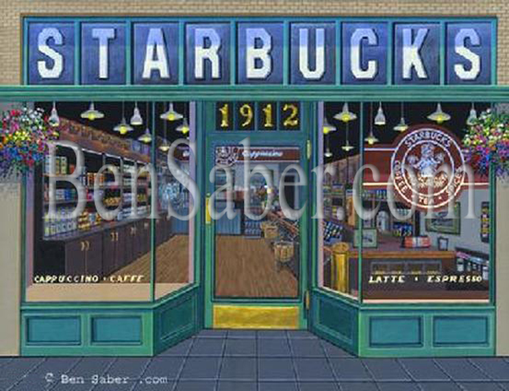 First Starbucks Cafe Coffee Seattle Original acrylic painting Picture