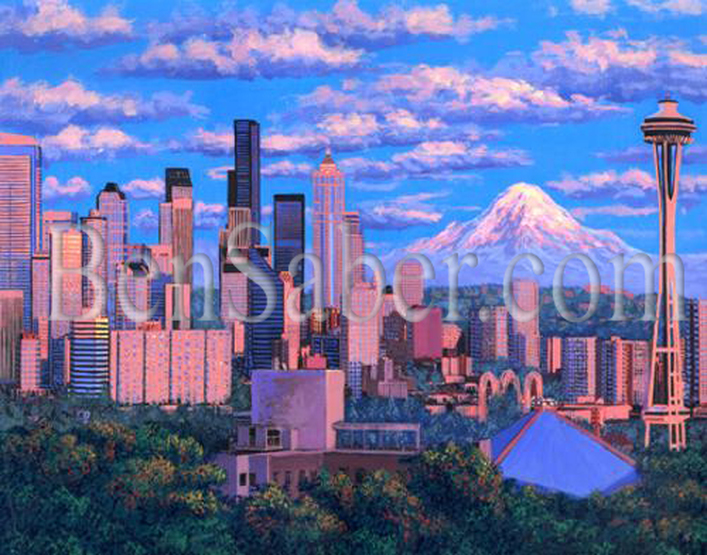 Downtown Seattle at sunset.  Original acrylique painting Picture