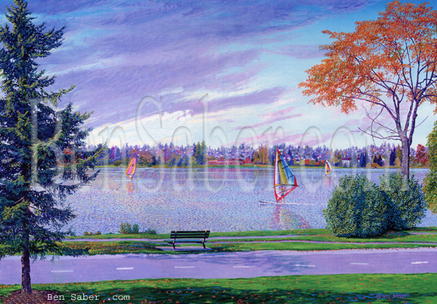 Windsurfers at Greenlake in Seattle Picture