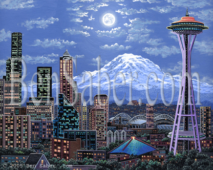 Downtown Seattle from  Queen Anne hill at night Picture painting moon