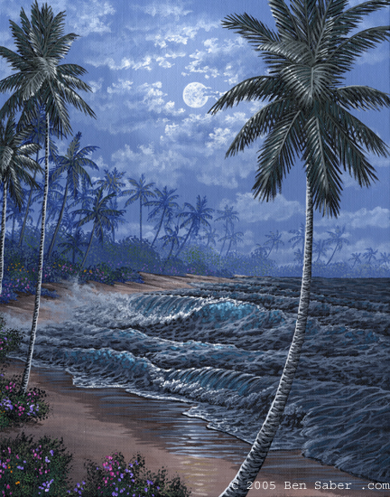 Tropical beach in the moonlight Picture painting