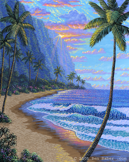 The cliffs of Hawaii at sunset Picture painting