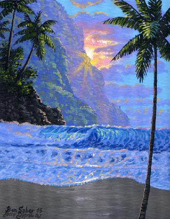 each sunset and mountains in Hawaii Picture painting