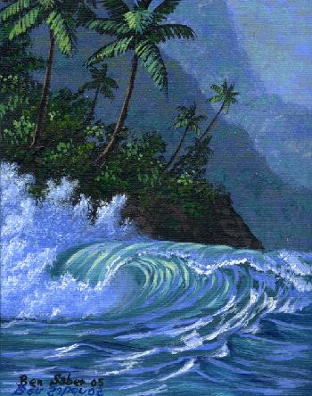 Waves and hills in Hawaii Picture painting