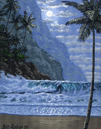 Beach moonlight and mountains in Hawaii Picture painting