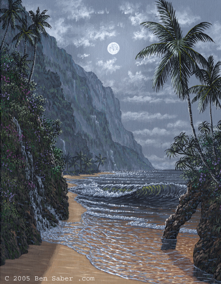 The beach in Hana Maui at night Picture painting