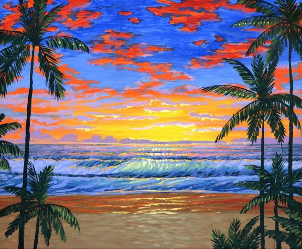 Tropical beach at sunset Picture