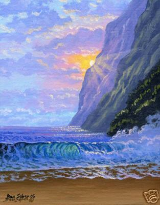 Beach sunset and mountains in  Hawaii Picture painting