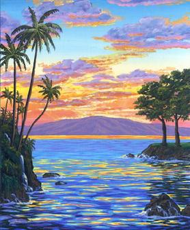 The island of Lanai from Maui Hawaii Picture painting