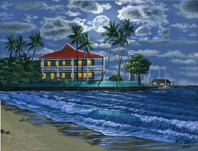 Front street beach and hotel Maui painting Picture