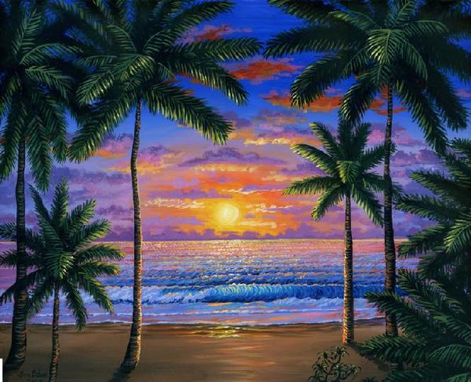 Tropical beach at sunset painting Picture