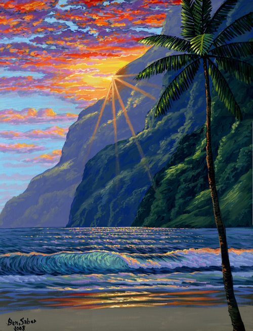 Hawaiian mountains and beach painting Picture